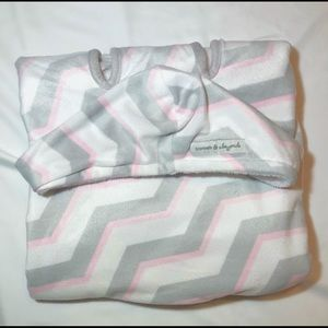 Pink and Gray Reversible Car Seat Chevron Blanket